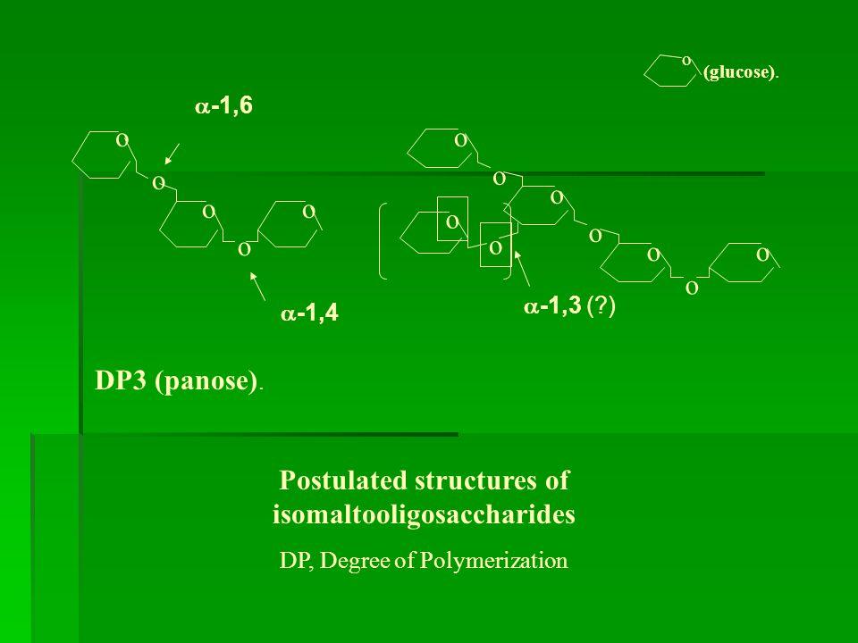 Postulated structures of isomaltooligosaccharides DP, Degree of Polymerization DP3 (panose).  -1,6 o o o o o oo o o o oo o o  -1,4  -1,3 (?) o (glu