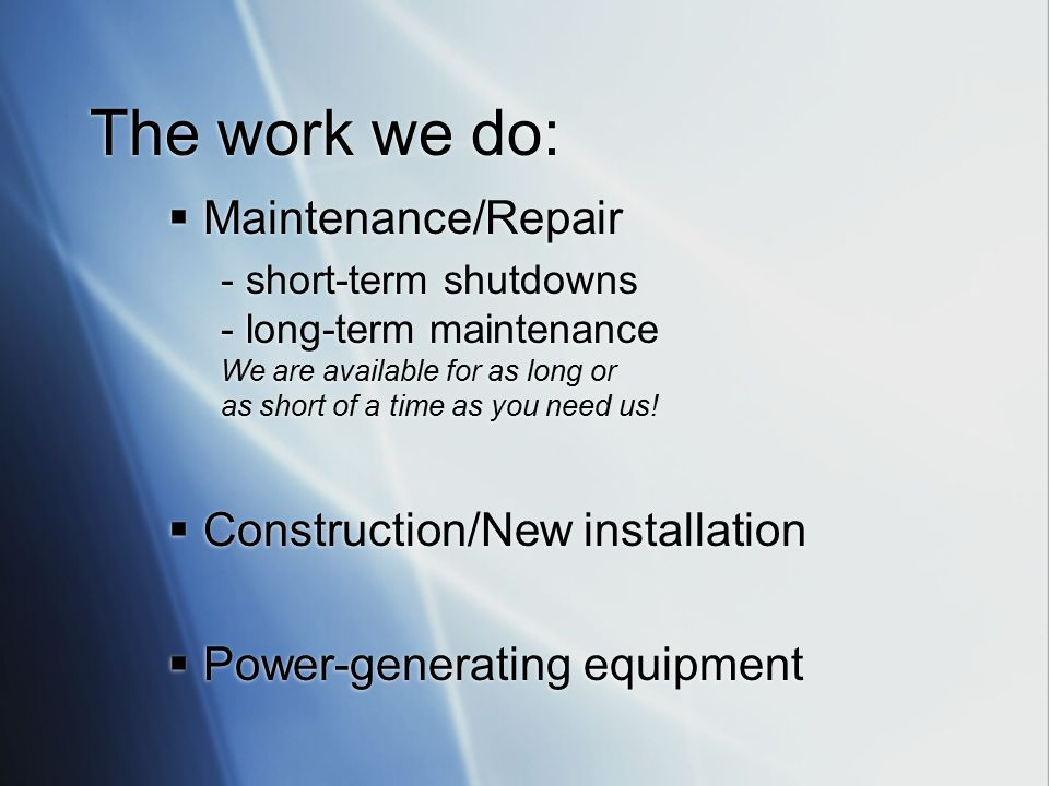 Millwrights work in complex systems at:  Nuclear power plants  Food service plants  Paper mills  Ethanol plants  Auto plants  Power Generation plants  Wind farms  Refineries  Manufacturing plants  Nuclear power plants  Food service plants  Paper mills  Ethanol plants  Auto plants  Power Generation plants  Wind farms  Refineries  Manufacturing plants