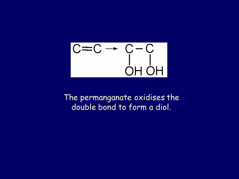 The permanganate oxidises the double bond to form a diol.