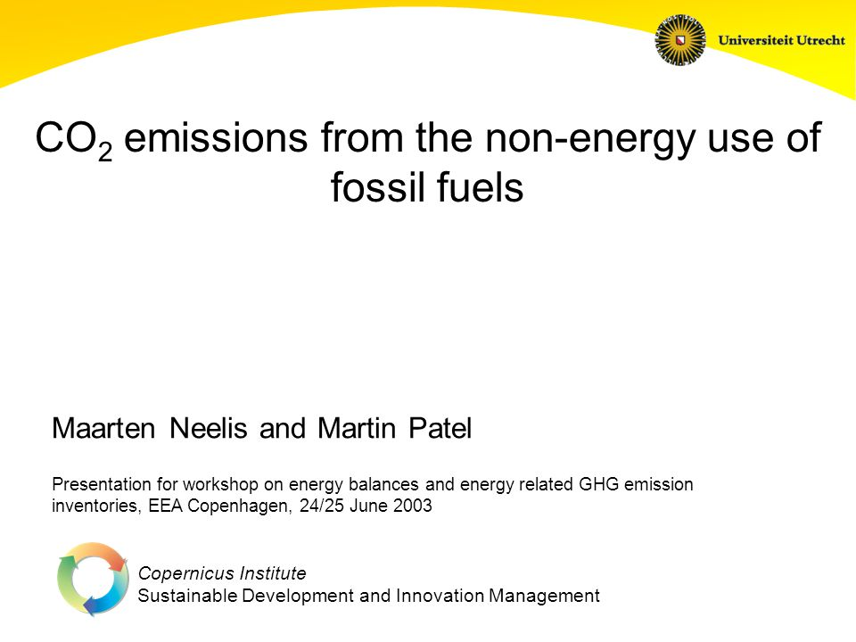 Copernicus Institute Sustainable Development and Innovation Management CO 2 emissions from the non-energy use of fossil fuels Presentation for worksho