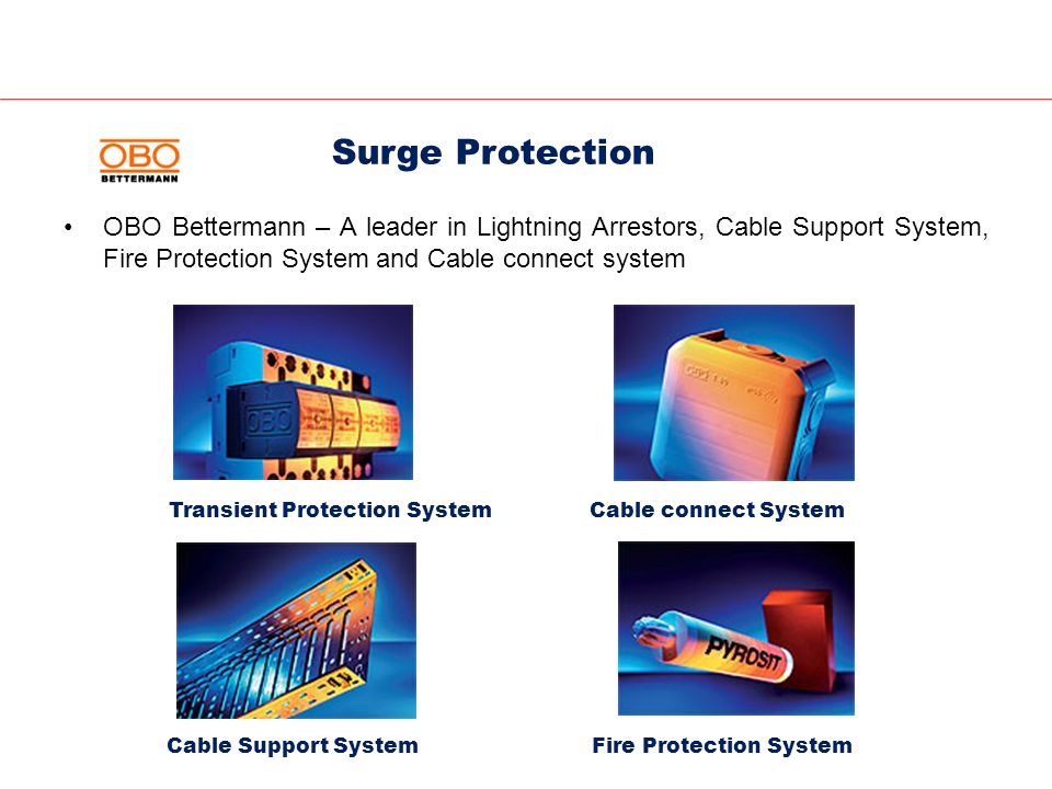 OBO Bettermann – A leader in Lightning Arrestors, Cable Support System, Fire Protection System and Cable connect system Transient Protection System Cable Support SystemFire Protection System Cable connect System Surge Protection