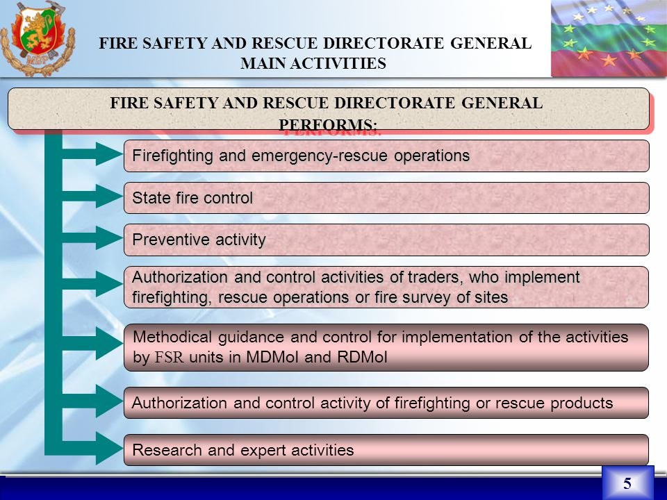 5 FIRE SAFETY AND RESCUE DIRECTORATE GENERAL MAIN ACTIVITIES : Firefighting and emergency-rescue operations FIRE SAFETY AND RESCUE DIRECTORATE GENERAL PERFORMS: FIRE SAFETY AND RESCUE DIRECTORATE GENERAL PERFORMS: State fire control Preventive activity Authorization and control activities of traders, who implement firefighting, rescue operations or fire survey of sites Methodical guidance and control for implementation of the activities by FSR units in MDMoI and RDMoI Authorization and control activity of firefighting or rescue products Research and expert activities