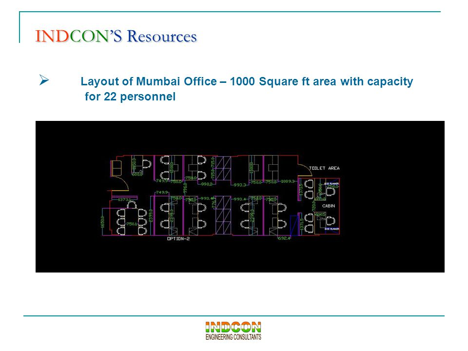 INDCON'S Resources INDCON'S Resources  Layout of Mumbai Office – 1000 Square ft area with capacity for 22 personnel