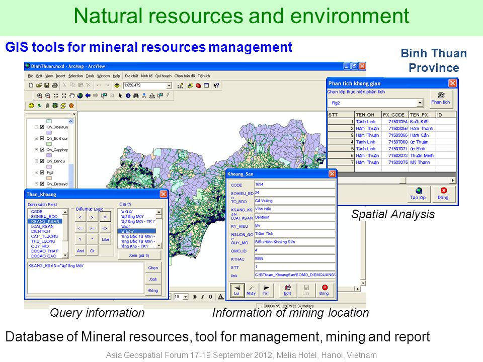 Natural resources and environment Spatial Analysis Information of mining location Query information Database of Mineral resources, tool for management, mining and report GIS tools for mineral resources management Binh Thuan Province Asia Geospatial Forum 17-19 September 2012, Melia Hotel, Hanoi, Vietnam