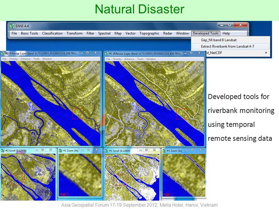 Developed tools forriverbank monitoringusing temporalremote sensing data Natural Disaster Asia Geospatial Forum 17-19 September 2012, Melia Hotel, Hanoi, Vietnam