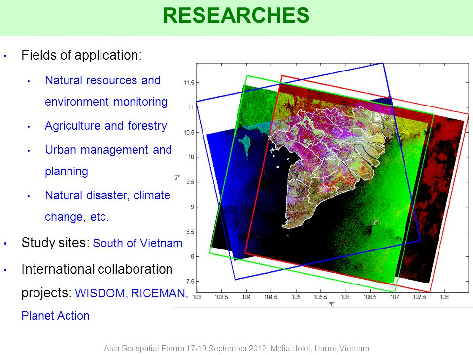 RESEARCHES Fields of application: Natural resources and environment monitoring Agriculture and forestry Urban management and planning Natural disaster, climate change, etc.