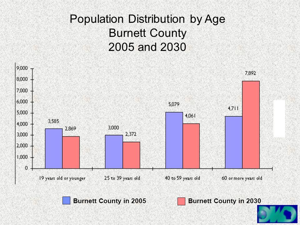 Population Distribution by Age Burnett County 2005 and 2030 Burnett County in 2005Burnett County in 2030