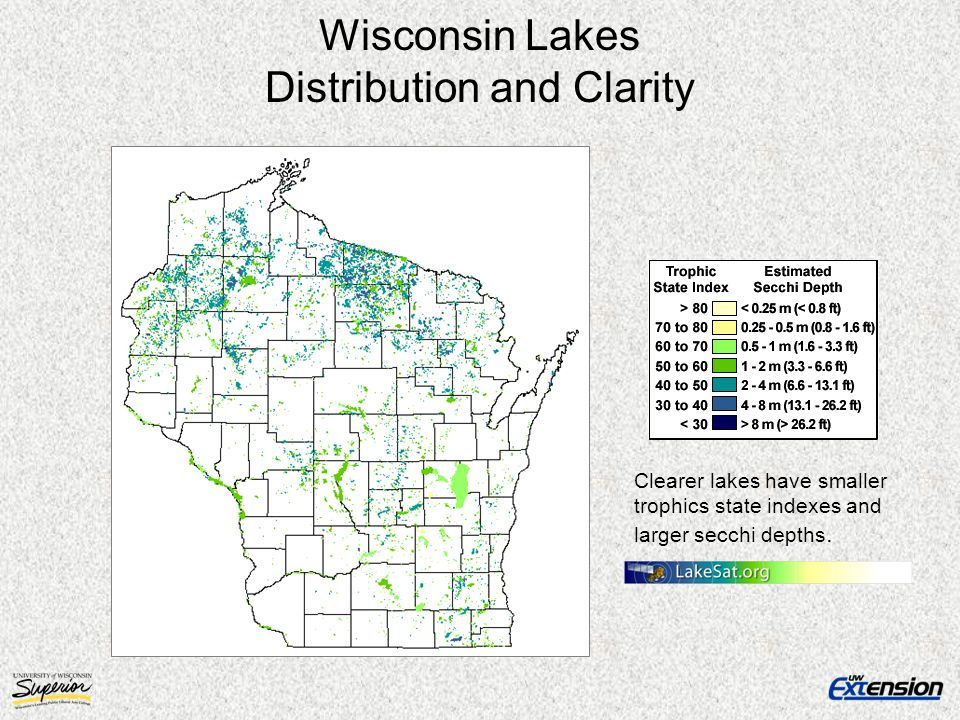 Wisconsin Lakes Distribution and Clarity Clearer lakes have smaller trophics state indexes and larger secchi depths.