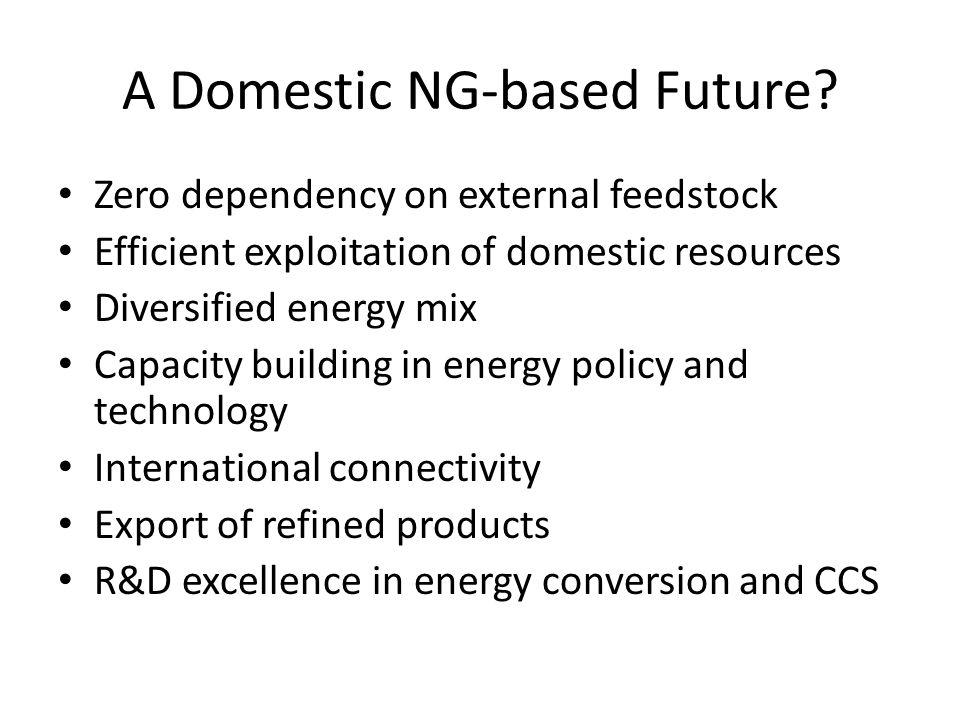 A Domestic NG-based Future.