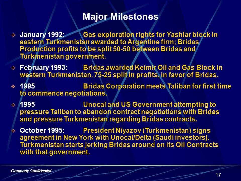 Company Confidential 16 Bridas Corporation Pipeline Network Caspian Basin