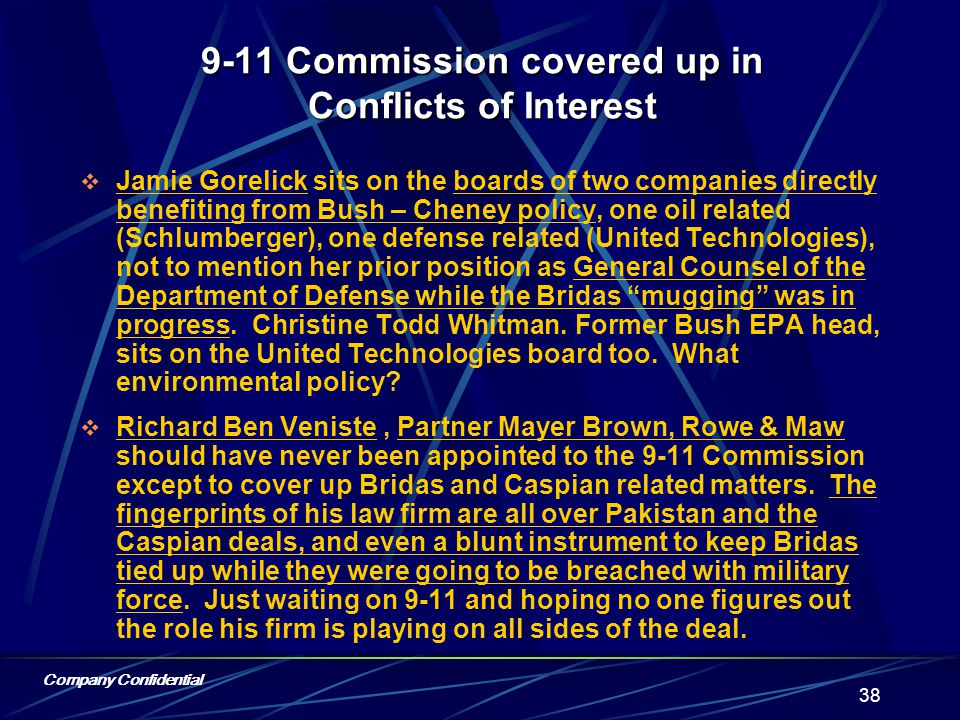 Company Confidential 37 9-11 Commission covered up in Conflicts of Interest  Fred Fielding is a board member of Committee for Justice along with M.
