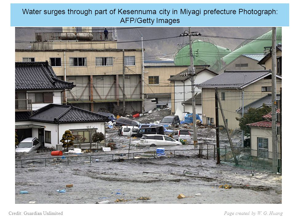 Water surges through part of Kesennuma city in Miyagi prefecture Photograph: AFP/Getty Images Page created by W.