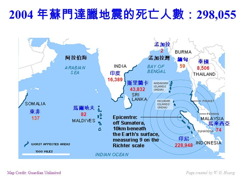 Map Credit: Guardian Unlimited 印度 16,389 2004 年蘇門達臘地震的死亡人數: 298,055 東非 137 馬爾地夫 82 斯里籣卡 43,832 印尼 228,948 泰國 8,506 馬來西亞 74 緬甸 59 孟加拉灣 阿拉伯海 孟加拉 2 Page created by W.