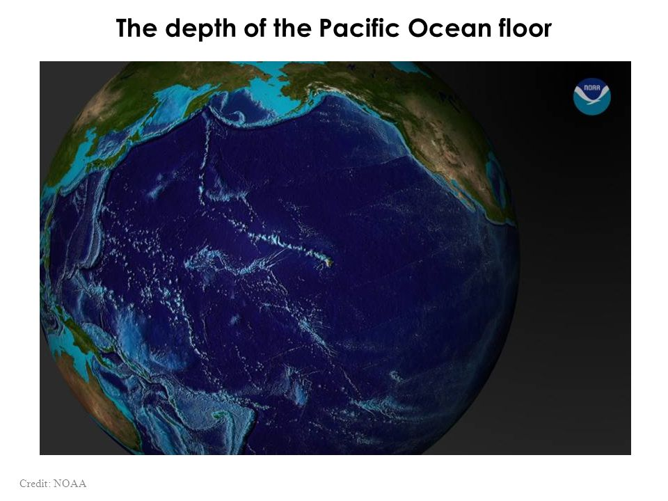 The depth of the Pacific Ocean floor Credit: NOAA