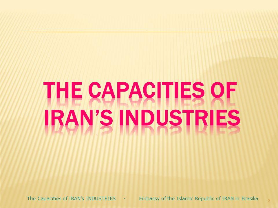 3 The Capacities of IRAN's INDUSTRIES - Embassy of the Islamic Republic of IRAN in Brasilia