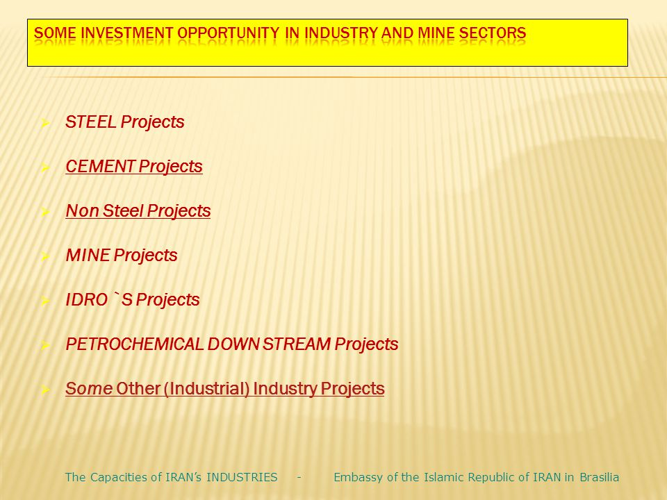  STEEL Projects  CEMENT Projects  Non Steel Projects  MINE Projects  IDRO `S Projects  PETROCHEMICAL DOWN STREAM Projects  Some Other (Industri
