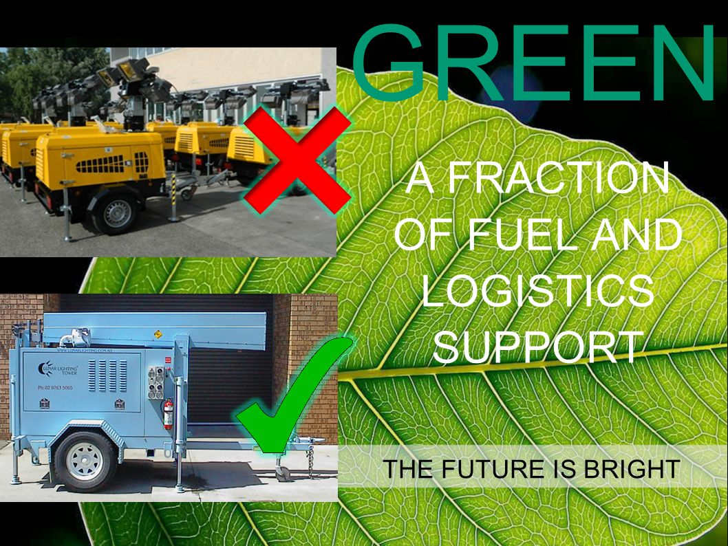 A FRACTION OF FUEL AND LOGISTICS SUPPORT THE FUTURE IS BRIGHT GREEN