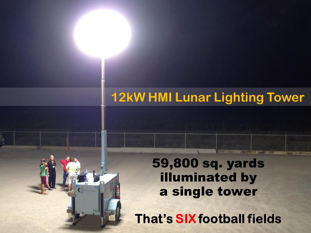 12kW HMI Lunar Lighting Tower That's SIX football fields 59,800 sq.