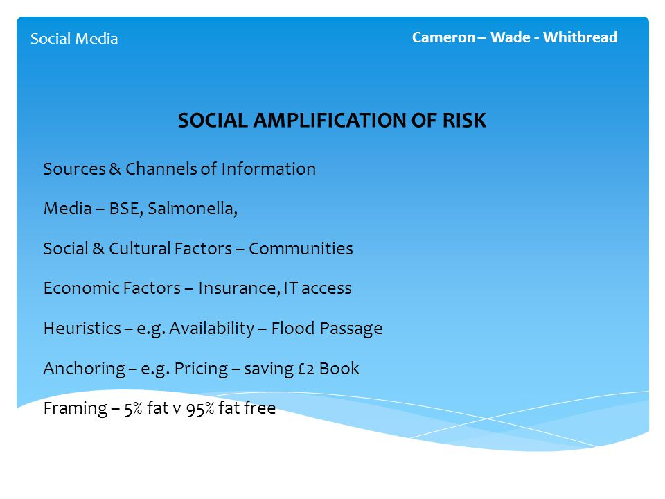 Social Media Cameron – Wade - Whitbread SOCIAL AMPLIFICATION OF RISK Sources & Channels of Information Media – BSE, Salmonella, Social & Cultural Factors – Communities Economic Factors – Insurance, IT access Heuristics – e.g.