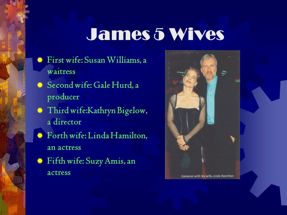 James 5 Wives  First wife: Susan Williams, a waitress  Second wife: Gale Hurd, a producer  Third wife:Kathryn Bigelow, a director  Forth wife: Linda Hamilton, an actress  Fifth wife: Suzy Amis, an actress