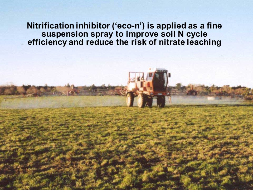 Nitrification inhibitor ('eco-n') is applied as a fine suspension spray to improve soil N cycle efficiency and reduce the risk of nitrate leaching