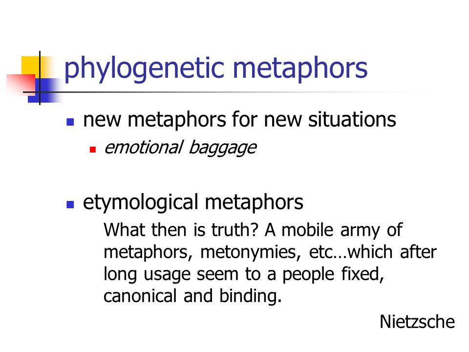 phylogenetic metaphors new metaphors for new situations emotional baggage etymological metaphors What then is truth.