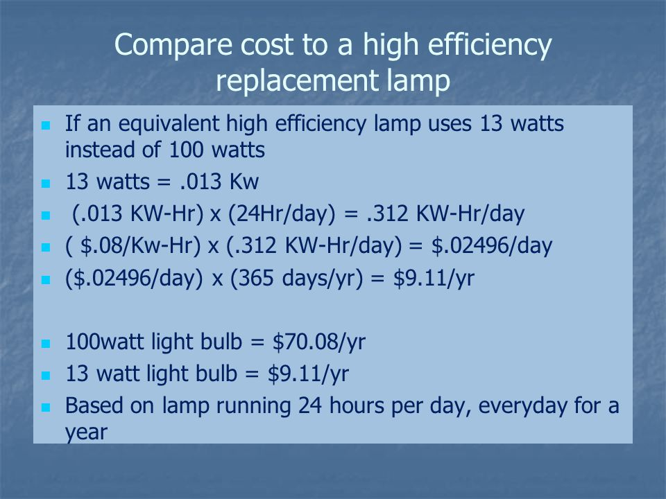 Compare cost to a high efficiency replacement lamp If an equivalent high efficiency lamp uses 13 watts instead of 100 watts 13 watts =.013 Kw (.013 KW-Hr) x (24Hr/day) =.312 KW-Hr/day ( $.08/Kw-Hr) x (.312 KW-Hr/day) = $.02496/day ($.02496/day) x (365 days/yr) = $9.11/yr 100watt light bulb = $70.08/yr 13 watt light bulb = $9.11/yr Based on lamp running 24 hours per day, everyday for a year