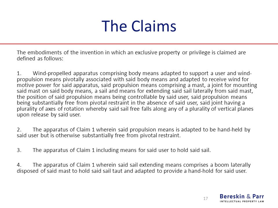 The Claims The embodiments of the invention in which an exclusive property or privilege is claimed are defined as follows: 1.