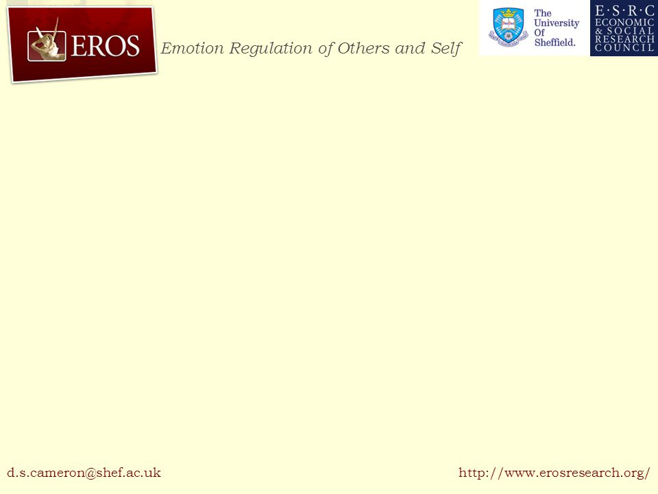 Emotion Regulation of Others and Self http://www.erosresearch.org/d.s.cameron@shef.ac.uk