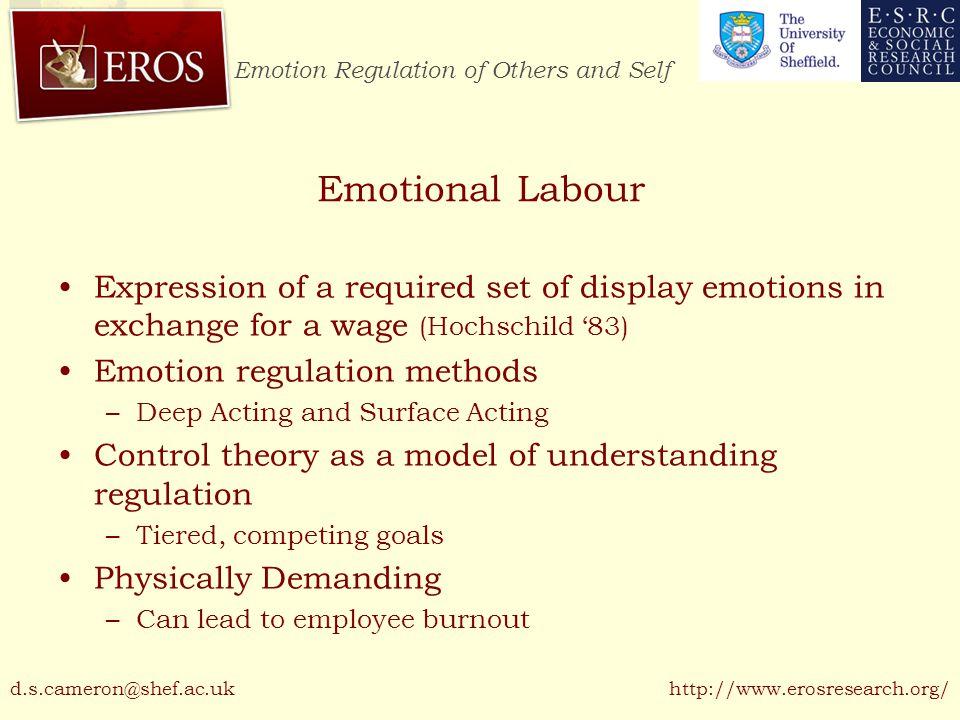 Emotion Regulation of Others and Self http://www.erosresearch.org/ Resource & Ego Depletion Cognitive tasks are demanding –Shared 'resource' of cognitive energy (Baumeister et al.