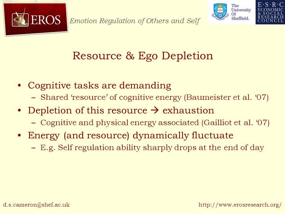 Emotion Regulation of Others and Self http://www.erosresearch.org/ Resource & Ego Depletion Cognitive tasks are demanding –Shared 'resource' of cognit