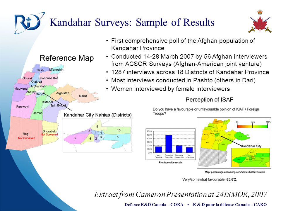 Defence R&D Canada – CORA R & D pour la défense Canada – CARO Kandahar Surveys: Sample of Results First comprehensive poll of the Afghan population of