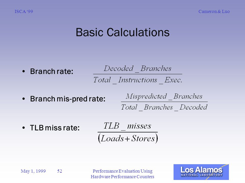 Cameron & LuoISCA '99 May 1, 1999 52Performance Evaluation Using Hardware Performance Counters Basic Calculations Branch rate: Branch mis-pred rate: TLB miss rate: