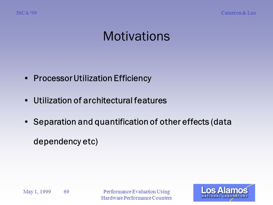 Cameron & LuoISCA '99 May 1, 1999 69Performance Evaluation Using Hardware Performance Counters Motivations Processor Utilization Efficiency Utilization of architectural features Separation and quantification of other effects (data dependency etc)