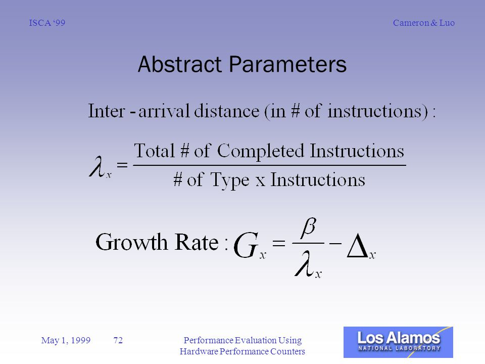 Cameron & LuoISCA '99 May 1, 1999 72Performance Evaluation Using Hardware Performance Counters Abstract Parameters