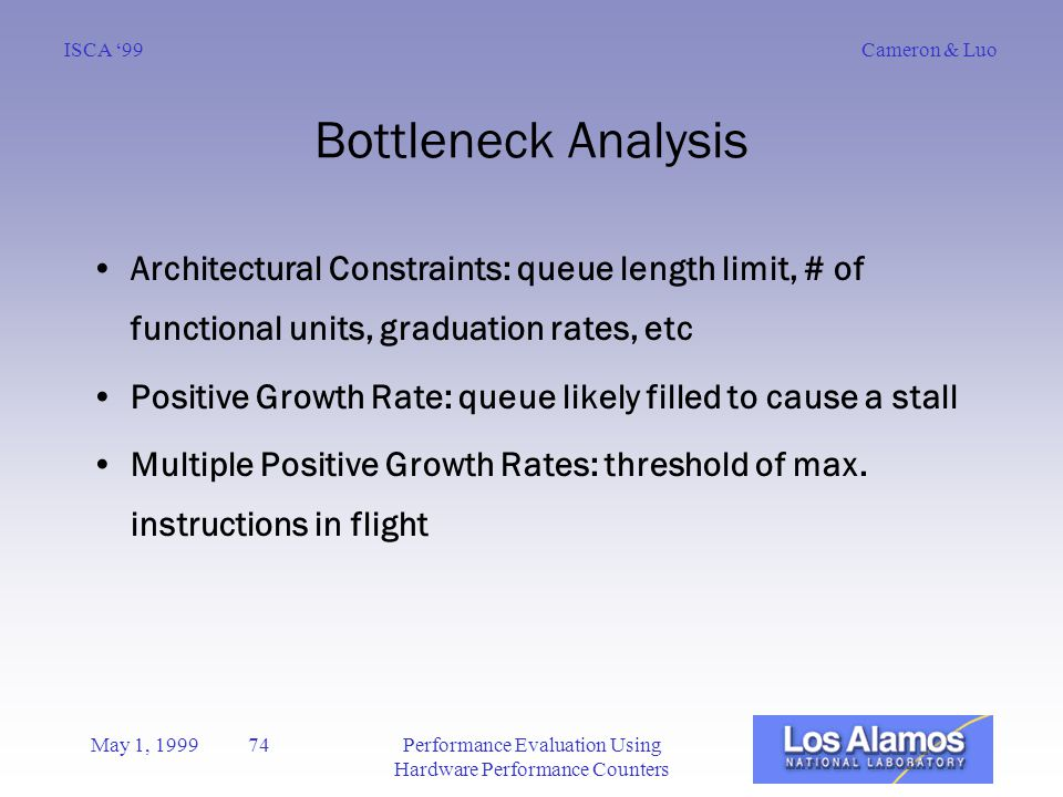 Cameron & LuoISCA '99 May 1, 1999 74Performance Evaluation Using Hardware Performance Counters Bottleneck Analysis Architectural Constraints: queue length limit, # of functional units, graduation rates, etc Positive Growth Rate: queue likely filled to cause a stall Multiple Positive Growth Rates: threshold of max.