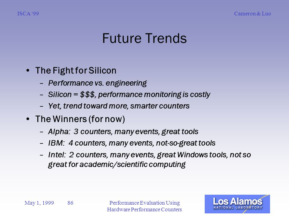 Cameron & LuoISCA '99 May 1, 1999 86Performance Evaluation Using Hardware Performance Counters Future Trends The Fight for Silicon –Performance vs.