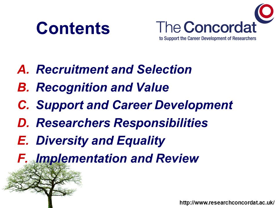 http://www.researchconcordat.ac.uk/ Implementation progress