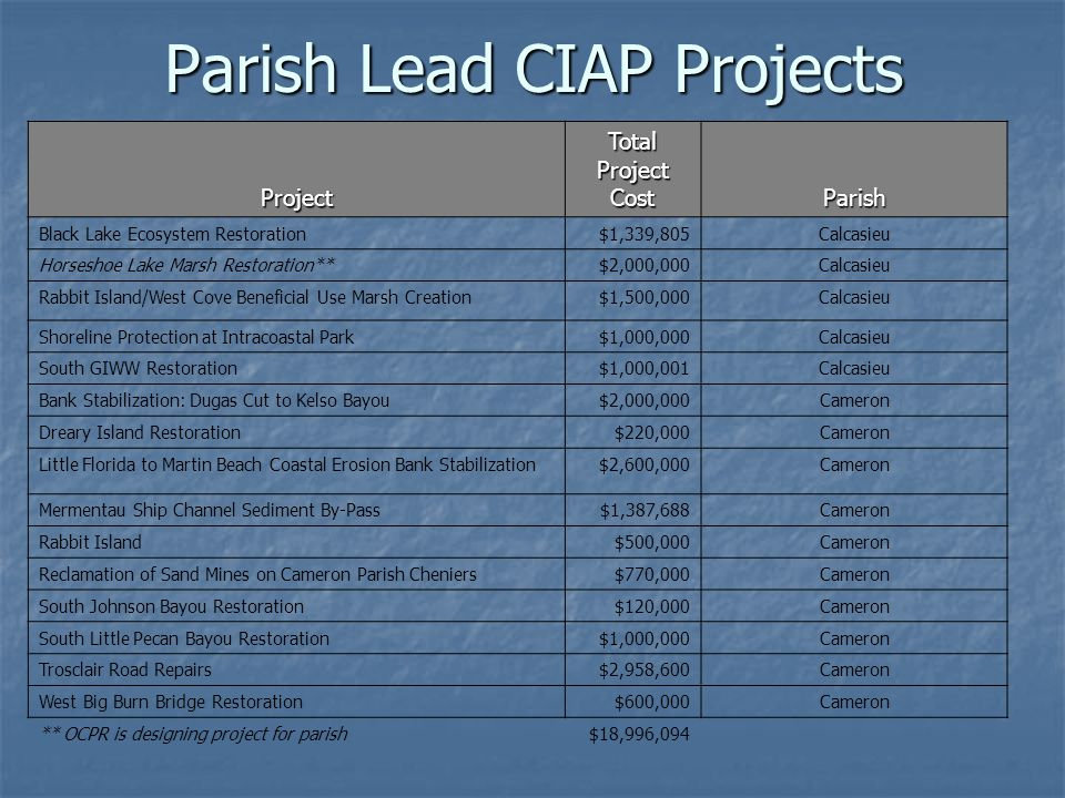 Parish Lead CIAP Projects Project Total Project Cost Parish NE White Lake Shoreline Protection and Marsh Creation$100,000Vermilion Bird Island$132,218Vermilion Chenier au Tigre Cement Bag Extension$200,000Vermilion Four Mile Canal Hydrologic Restoration$405,746Vermilion Henry Hub Access Improvements - Charlie Field Road Bridge Replacement $375,000Vermilion Henry Hub Access Improvements - Charlie Field Road Improvements$629,270Vermilion Henry Hub Access Improvements - Highway 331 Realignment$275,000Vermilion Hydrologic Restoration at Little Bayou Chene$500,000Vermilion Intracoastal City Street Improvements$596,200Vermilion Oyster Reef Parallel to Cheniere au Tigre$1,438,984Vermilion Prien Point Reef Extension$100,000Vermilion Shoreline Protection and Marsh Creation at Tiger Point$300,000Vermilion Shoreline Protection on Southwest Point at Southwest Pass$117,782Vermilion Vermilion Parish CZM Planning and Development$100,000Vermilion $5,270,200