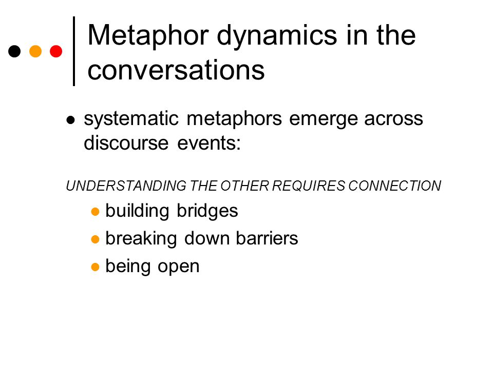 Metaphor dynamics in the conversations systematic metaphors emerge across discourse events: UNDERSTANDING THE OTHER REQUIRES CONNECTION building bridges breaking down barriers being open
