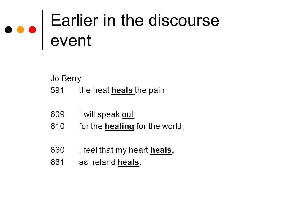 Earlier in the discourse event Jo Berry 591the heat heals the pain 609I will speak out, 610for the healing for the world, 660I feel that my heart heals, 661as Ireland heals.