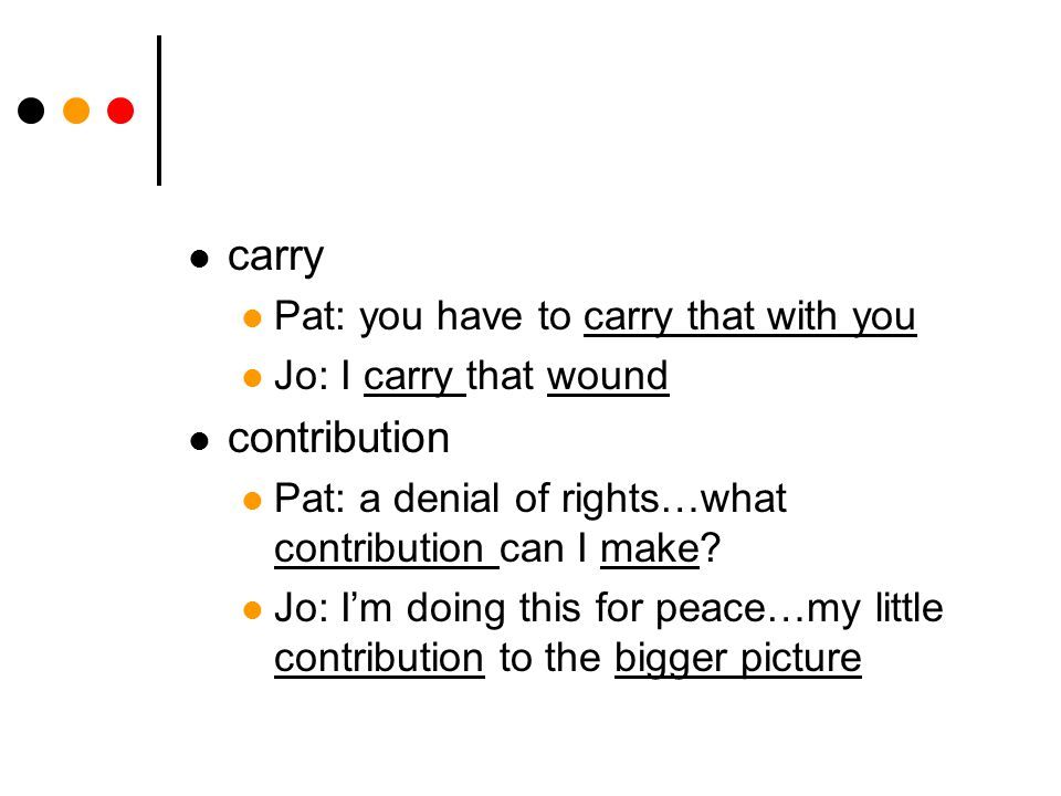 carry Pat: you have to carry that with you Jo: I carry that wound contribution Pat: a denial of rights…what contribution can I make? Jo: I'm doing thi