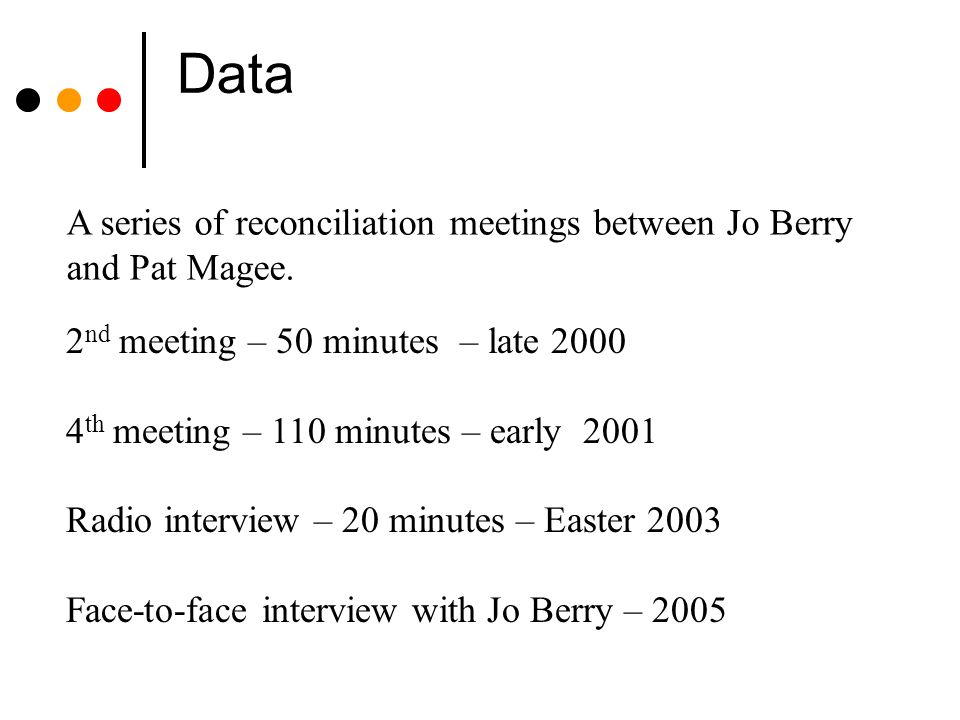 Data A series of reconciliation meetings between Jo Berry and Pat Magee. 2 nd meeting – 50 minutes – late 2000 4 th meeting – 110 minutes – early 2001