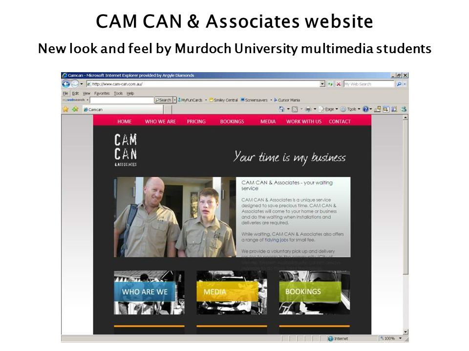 CAM CAN & Associates website New look and feel by Murdoch University multimedia students