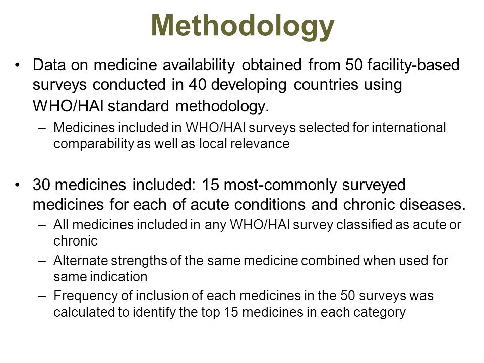 Methodology Data on medicine availability obtained from 50 facility-based surveys conducted in 40 developing countries using WHO/HAI standard methodology.
