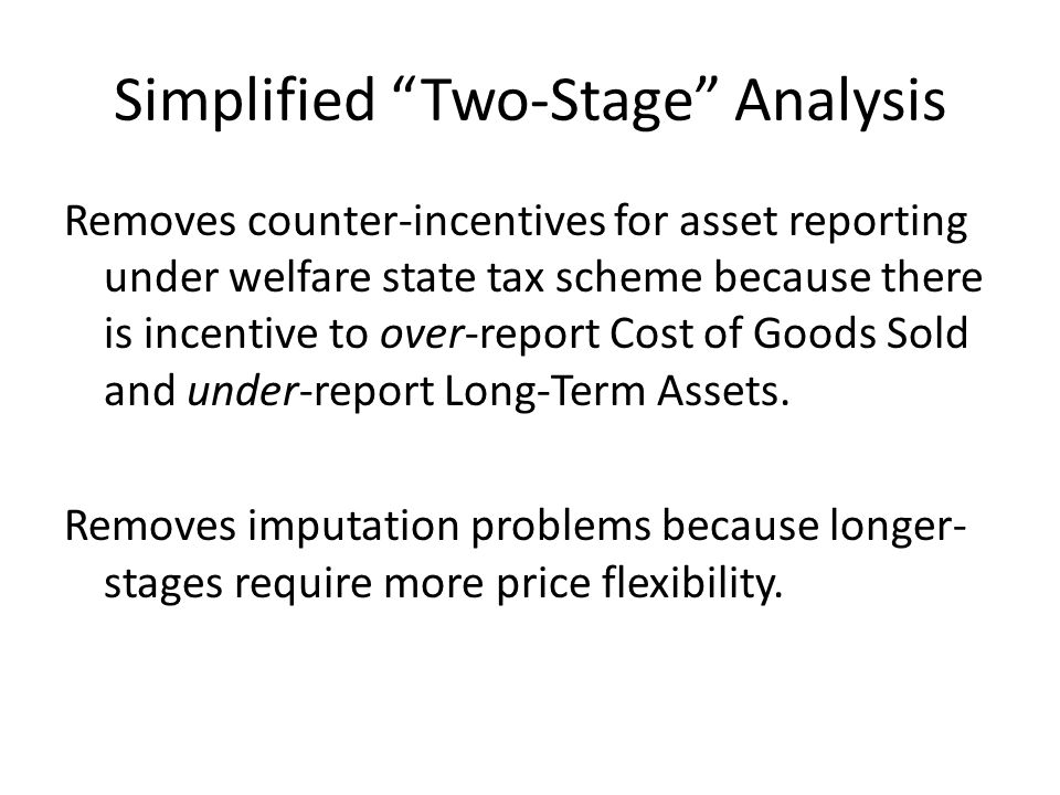 Removes counter-incentives for asset reporting under welfare state tax scheme because there is incentive to over-report Cost of Goods Sold and under-report Long-Term Assets.
