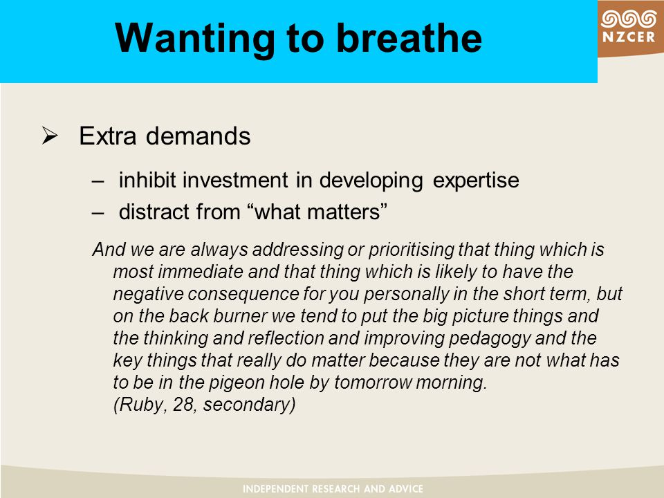 Wanting to breathe  Extra demands – inhibit investment in developing expertise – distract from what matters And we are always addressing or prioritising that thing which is most immediate and that thing which is likely to have the negative consequence for you personally in the short term, but on the back burner we tend to put the big picture things and the thinking and reflection and improving pedagogy and the key things that really do matter because they are not what has to be in the pigeon hole by tomorrow morning.