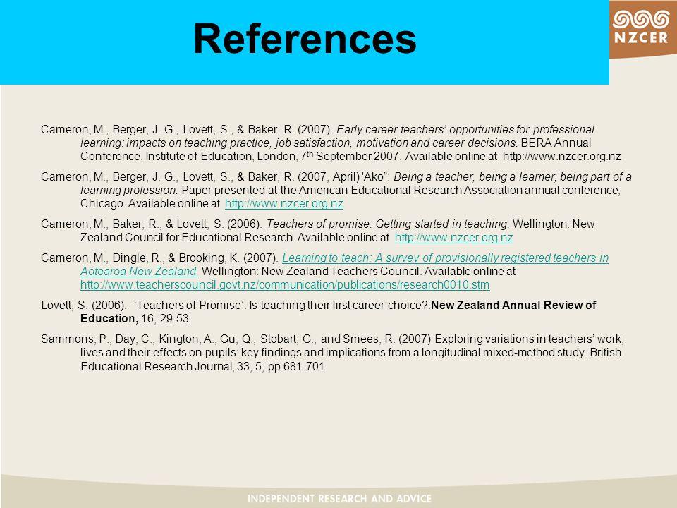 References Cameron, M., Berger, J. G., Lovett, S., & Baker, R.