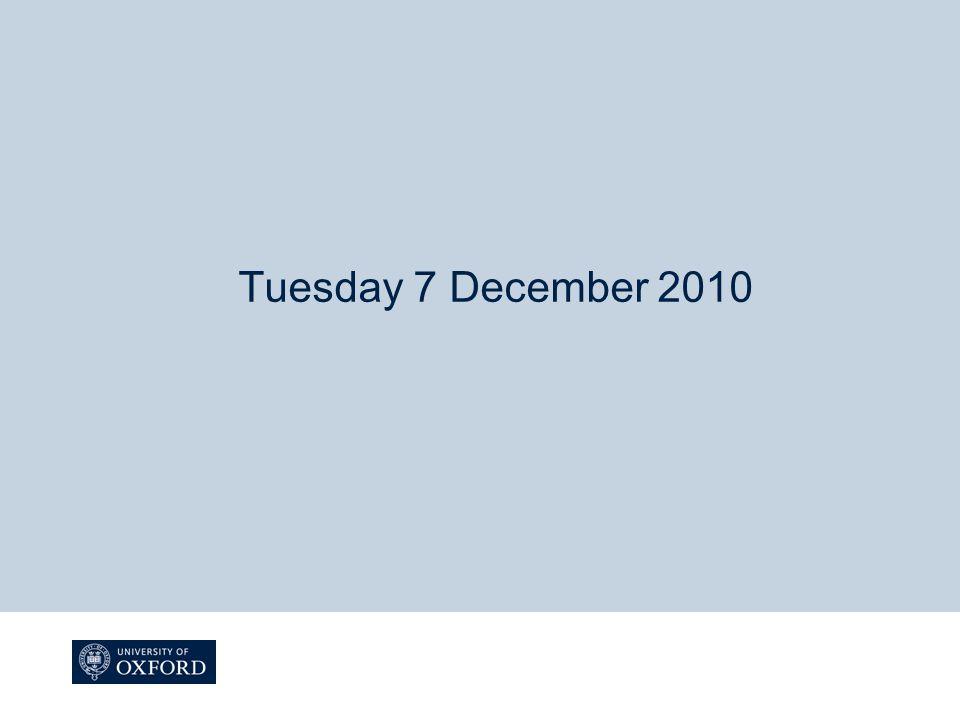 Tuesday 7 December 2010