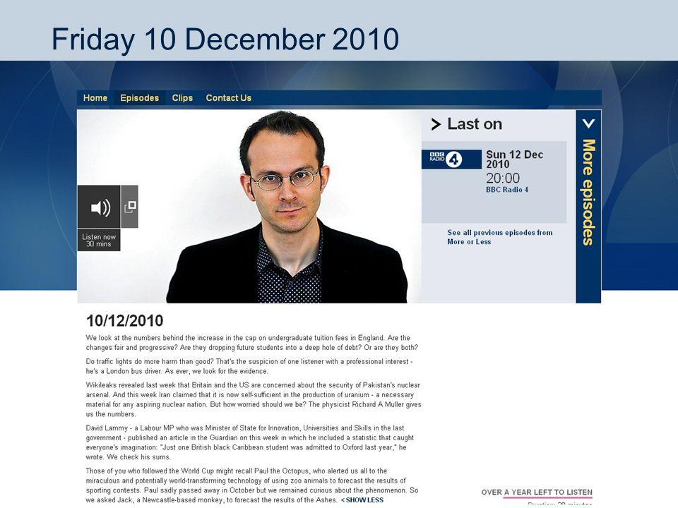 Friday 10 December 2010